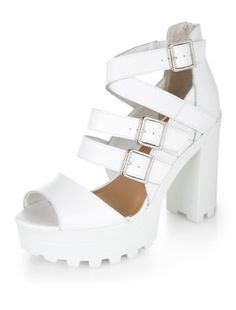 White Leather Chunky Multi Strap Block Heel Boots | New Look