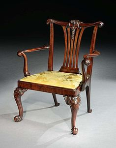 c1745 A GEORGE II MAHOGANY ARMCHAIR ATTRIBUTED TO GILES GRENDEY  English, circa 1745     Height: 38 in; 96.5 cm   Height of seat: 18 in; 46 cm   Width: 30¼ in; 77 cm   Depth: 26¼ in; 67 cm    REF No. 4483141   Price Range: £50,000 +