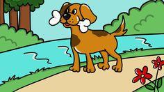 Pies i jego odbicie The Dog and His Reflection  Dawno temu żył sobie pies o imieniu Spot. Once upon a time, there was a dog named Spot.  Spot uwielbiał chodzić na spacery wzdłuż rzeki. Pewnego dnia znalazł kość. Spot loved to take walks along the river. One day, he found a bone.  Chciał przenieść kość przez most. He wanted to take the bone over the bridge.  http://dinolingo.com/books/polish-books-for-kids/poziom-3/pies-i-jego-odbicie/