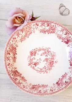 Late 1800s French Ironstone Cake Stand Pink Transferware