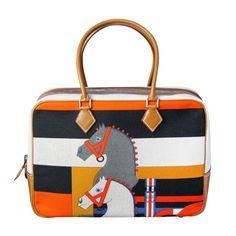 8015222b34 HERMES PLUME HORSE MULTICOLOR CANVAS BARENIA. kanson chirs · bags