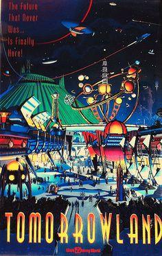Tomorrowland Walt Disney World magic kingdom Retro Disney, Vintage Disney Posters, Disney Movie Posters, Film Disney, Vintage Disneyland, Vintage Cartoon, Disney Disney, Disneyland Sign, Disneyland Birthday
