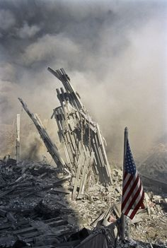 """""""A group of firemen had raised a flag in the midst of the ruins. It was an expression of defiance, of being unbowed, a tribute to their fallen comrades."""""""