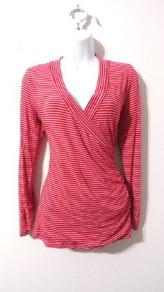 Cabi Faux Wrap V-neck Striped Blouse shirt Top Red White Career Casual Medium M #Cabi #Blouse