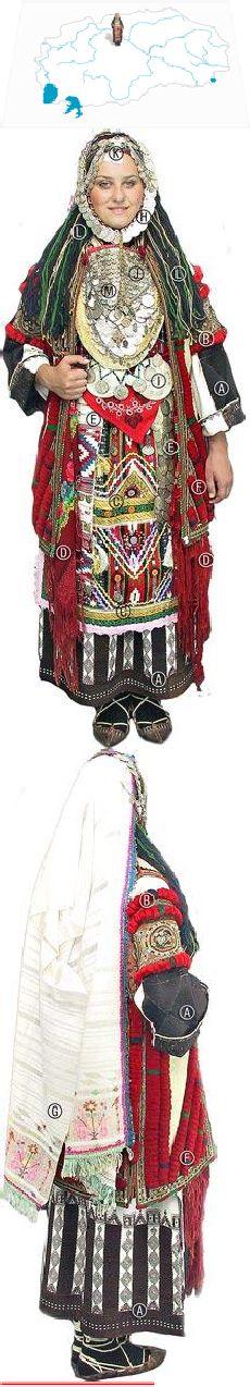 Skopska Blatija  bride,turn of the 20th century    Crnetica (long dress), Saja (upper garment with rudimentary sleeves), Pojas (sash, not visible), Praena vuta (apron), Uzkuknici & Krpčinja so pari (scarves with a decorative and apotropaic function), Kjurdija (sleeveless coat made of klašna),  Fes (shallow hat trimmed with coins, not visible), Krpa (headscarf) held in place with a Remen (a band trimmed with coins),  Pafti, (buckle), Ledenik, Pirišan, Piskuli