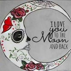 Sugar skull moon tattoo - Crafts Diy Home Sugar Skull Tattoos, Sugar Skull Art, Sugar Skulls, Sugar Skull Decor, Sugar Skull Drawings, Sugar Skull Painting, Los Muertos Tattoo, Day Of The Dead Skull, My Sun And Stars
