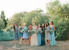 Girls wearing Gold, Champagne or Antique Colored Wedding dresses! Green Bridesmaid Dresses, Blue Bridesmaids, Colored Wedding Dresses, Wedding Party Dresses, Wedding Bridesmaids, Blue Dresses, Dusky Blue Wedding, Aqua Wedding, Wedding Bells