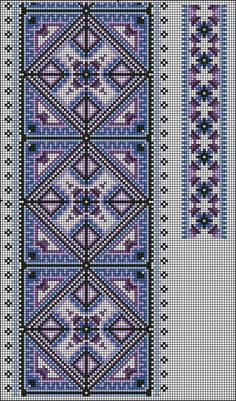 Beading _ Pattern - Motif / Earrings / Band ___ Square Sttich or Bead Loomwork ___ Gallery. Cross Stitch Borders, Cross Stitch Charts, Cross Stitch Designs, Cross Stitching, Cross Stitch Patterns, Folk Embroidery, Cross Stitch Embroidery, Embroidery Patterns, Quilt Patterns