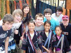 Student group meet Black H'mong hill tribes girls in Sapa. Northern Vietnam.