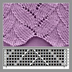 Palm stitch with chart Palm stitch with chart, … - Knitting Charts Lace Knitting Stitches, Cable Knitting Patterns, Knitting Charts, Knit Patterns, Hand Knitting, Poncho Crochet, Diy Crafts Knitting, Vogue Knitting, How To Purl Knit