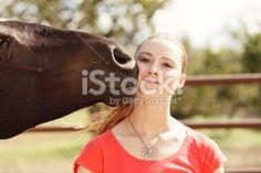 Horse Loving Woman Royalty Free Stock Photo