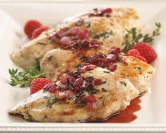 Raspberry-Balsamic Glazed Chicken Recipe - Sweet raspberry and tangy balsamic vinegar combine for a special occasion entrée you can make in 30 minutes. #Schwans #EasyRecipes #Inspiration