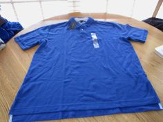 Men's Tommy Hilfiger Polo shirt large L LG solid NEW NWT knit blue royal