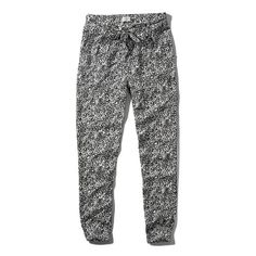 Abercrombie & Fitch Pattern Tie Joggers ($17) ❤ liked on Polyvore featuring black pattern and abercrombie & fitch