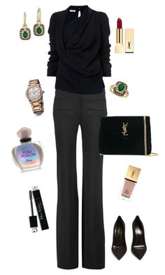 Black Heart by anya-nadtochiy on Polyvore featuring мода, Oscar de la Renta, Altuzarra, Yves Saint Laurent, David Yurman, Effy Jewelry and Christian Dior