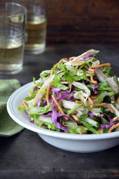 Chinese Chicken Salad with Sesame Dressing | http://www.justataste.com/2012/09/chinese-chicken-salad-with-sesame-dressing-recipe/