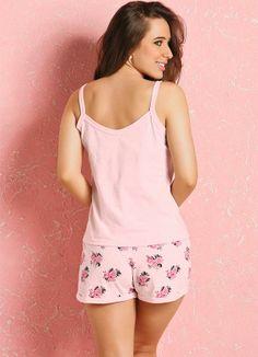 Pijama Curto Feminino Rosa e Floral - Posthaus