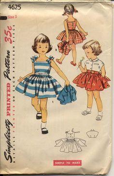 Simplicity 4625 Girls Dress Pattern Full Skirt Sundress & Jacket Tie Shoulders Back Button Childrens Vintage Sewing Pattern Breast 22 Childrens Sewing Patterns, Simplicity Sewing Patterns, Sewing For Kids, Vintage Sewing Patterns, Clothing Patterns, Moda Vintage, Vintage Girls, Vintage Children, 50s Vintage