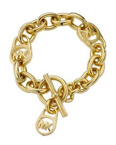 +Logo-Lock+Charm+Bracelet,+Gold+Tone+by+Michael+Kors+at+Neiman+Marcus.