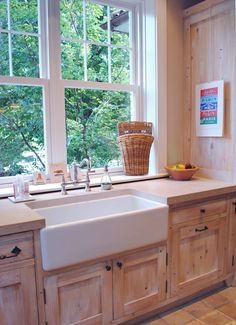 Farm sink (not divided). Cypress white washed cabinet. Window frames ...