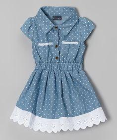 Light Blue Denim Polka Dot Dress - Toddler