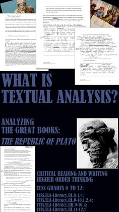 MOVE YOUR STUDENTS AWAY FROM GENERIC QUESTIONS AND SHIFT TO TEXT BASED SKILLS WITH THIS UNIT ON TEXTUAL ANALYSIS/CRITICAL THINKING SKILLS. THE REPUBLIC. This is a self-contained unit on textual analysis. Everything you need is here. Give your students the necessary tools to develop critical reasoning skills using the Great Books. Included: ➢A small excerpt from Plato's Republic. ➢Suggestions on how to read the text at different levels. ➢ writing prompts ➢AND MORE... $