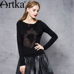 Find More Information about Artka Women's Autumn New Solid Color Embroidery Lace Patchwork T shirt Fashion O Neck Long Sleeve Slim Fit Tees ZA10651Q,High Quality fashion tees,China fashion t-shirt Suppliers, Cheap t-shirt fashion from Artka on Aliexpress.com