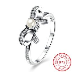 925 Sterling Silver Butterfly Knot Pearl Ring