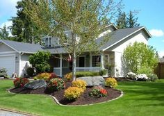 Minimalist Front Yard Curb Appeal Design. Ranch House LandscapingSmall ...