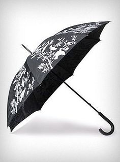 Hitchcock Birds Umbrella - Add some fun to a gloomy day with this awesome classic black umbrella printed with white bird silhouettes. It features a large waterproof canopy, and a classic black plastic curved handle. Functional and wickedly stylish ♥ $32