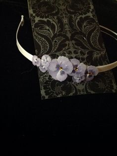 Thin White Silk Covered Headband with Violet flower accents by FourHeartsDesigns on Etsy
