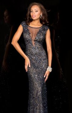 Embellished Open Back Gown by Scala Couture 48569 $398