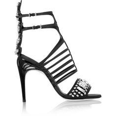 Fendi Crystal-embellished leather sandals (56 565 UAH) ❤ liked on Polyvore featuring shoes, sandals, heels, black, black high heel sandals, caged heel sandals, black ankle strap sandals, black sandals and high heeled footwear
