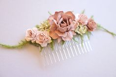 """H A I R / C O M B / """"D U S T Y R O S E"""" This very feminine, vintage style hair comb is perfect for the rustic, woodland bride or maternity photo shoot. This sweet comb features handmade paper roses in 2 shades of dusty antique blush, faux Queen Anne's Lace and feathery faux asparagus ferns. It is perfect for brides and bridesmaids. D E T A I L S This comb is made on a 3 base and measures about 4 ½"""" total. Price is for ONE hair comb. D U S T Y R O S E / C O L L E C T I O N *Br..."""