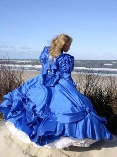 My type of beach wear - at least for a photo shoot! Frilly Dresses, Satin Dresses, Nice Dresses, Southern Belle Dress, Civil War Dress, Disney Princess Dresses, Silky Dress, Vintage Gowns, Fantasy Dress