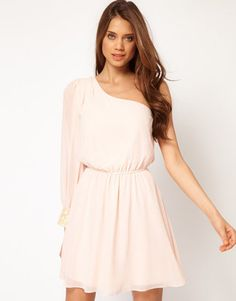 ShopStyle: ASOS One Shoulder Dress with Sequin Cuff