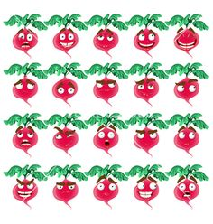 Cute cartoon radish smile with many expressions vector 977923 - by yadviga on VectorStock®