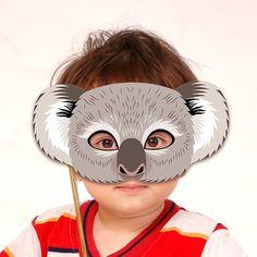 Koala Printable Mask Gray Bear DIY Animal Masks Booth Prop Birthday Party Game Children Adult Photo Halloween Costume Masquerade Party Favor