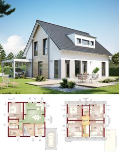 Barn House Plans, Modern House Plans, House Floor Plans, Living Haus, Mediterranean Living Rooms, Modern Contemporary Homes, A Frame House, Cottage Interiors, Traditional House
