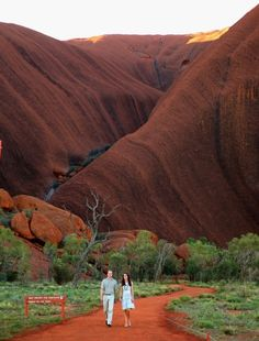 The couple walked along the Kuniya track in the cool of the late afternoon, on a path surrounded by red gums and bloodwoods, some in flower after recent rain