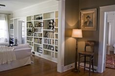 Erin's Craftsman Cottage in Laurel Mississippi  awesome hallway color white borders with Nantucket Grey, Benjamin Moore