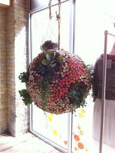 succulent & cork stopper hanging ball