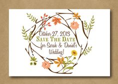 Autumnal Bliss Save the Date Postcard -  Fall Wedding, Autumn Wedding, Rustic Wedding, Bohemian Wedding, Indie Style