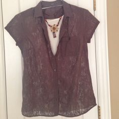 Eddie Bauer Brown short sleeve button up Light, lacy texture fabric, super cute for layering , size medium.  Check out the rest of my closet!! Eddie Bauer Tops Blouses
