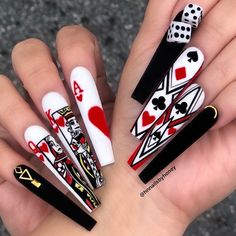 Trend Coffin Nails Design Ideas 2019 (Big Gallery) - Acrylic long nail such as coffin nails and stiletto is the most on-trend shape these years. This long and tapered shape extends beyond the end of the . Bling Nails, Swag Nails, My Nails, Fabulous Nails, Gorgeous Nails, Nailart, Fire Nails, Best Acrylic Nails, Crazy Nails
