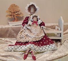 Poupée tissu style tilda, Maman et son bout'chou, bébé et  fauteuil lit inclus