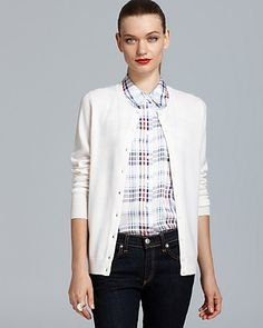 plaid + white business casual