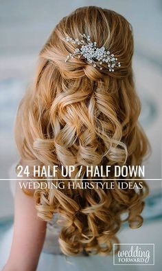 24 Stunning Half Up Half Down Wedding Hairstyles ?… 24 Stunning Half Up Half Down Wedding Hairstyles ? These elegant curly half up/half down hairstyles look amazing with hair accessories or on their own. Elegant Wedding Hair, Wedding Hair Down, Wedding Hair Flowers, Wedding Hair And Makeup, Flowers In Hair, Bridal Hair, Trendy Wedding, Wedding White, Wedding Dresses