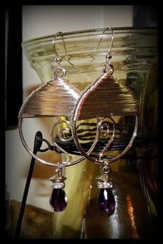 Silver Wire Wrapped Earrings with Droplet by JessasJewels on Etsy, $22.00