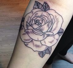 My tattoo: Rose outline. Geometric tattoo